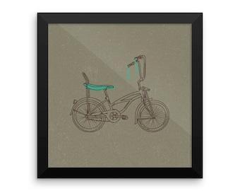 Retro Banana Seat Bicycle Framed poster