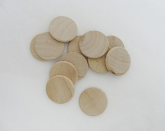 "12 wooden Circles, 1 inch wood disc, 1"" wood disk 1/8"" thick unfinished DIY rounded edges"