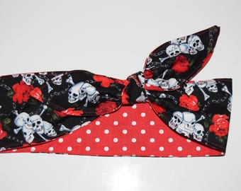 1950's inspired head band, Head scarf, 100% Cotten hair band,