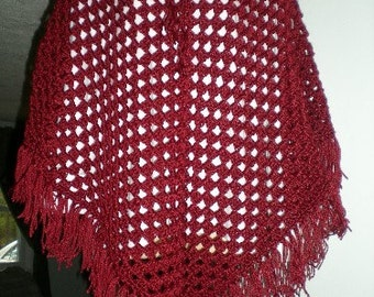 Poncho, Crochet, Red, Wrap, Shawl