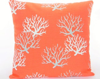 Coral Gray/Salmon Beach Throw Pillow Cushion COVER Decorative Pillow Salmon Nautical Couch Sofa Pillow Bedding Shams ALL SIZES Cottage Decor