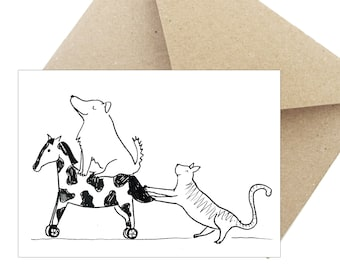 "Postcard Greeting card Birthday gift ""dog and Cat"""