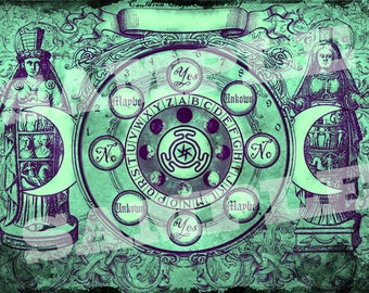 Hekate Goddess Pendulum Board - Green Patina -  Digital Download emailed to you
