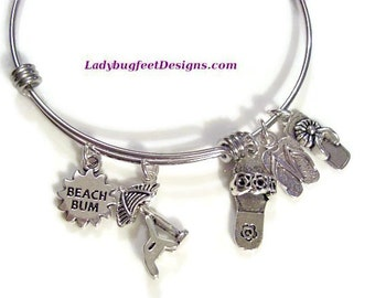 BEACH BUM Summer Flip Flops Adjustable Expandable Stackable Bangle bracelet, One size fits most!
