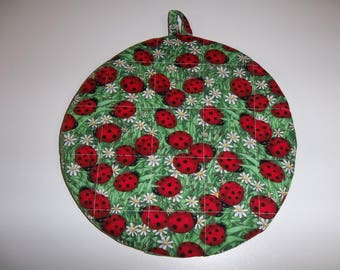 Red Ladybug, Quilted Pot Holders, Potholders, Quilted Hot Pads, Round Fabric, Handmade, Cotton, 9 Inches, Double Insulated, Trivet, Gift