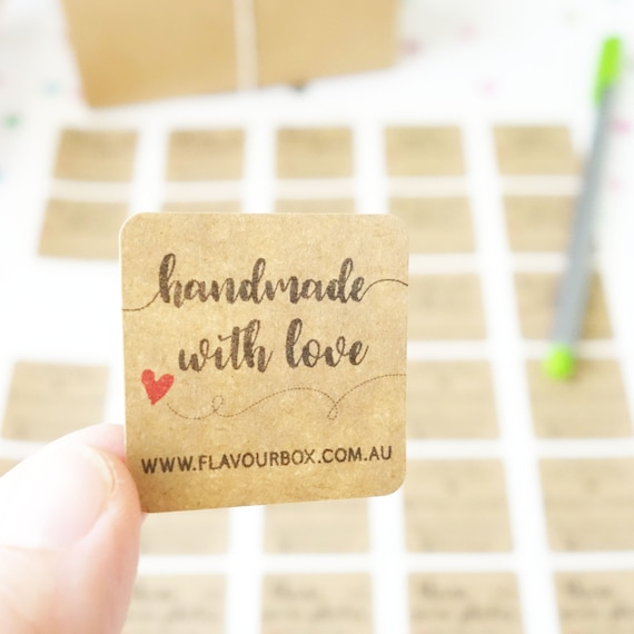 Handmade with love sticker custom business labels small biz stickers product labels packaging etsy shop thank you from flavourbox on etsy studio
