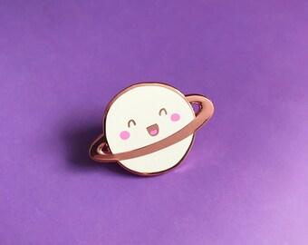 Happy Planet Lapel Pin | cute enamel pin hat badge space