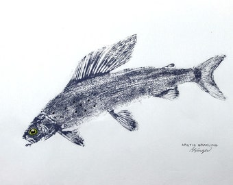 ORIGINAL Leaping Arctic Grayling Art Best GYOTAKU Fish Rubbing 12X18 Fisherman gift on Rice paper by Barry Singer