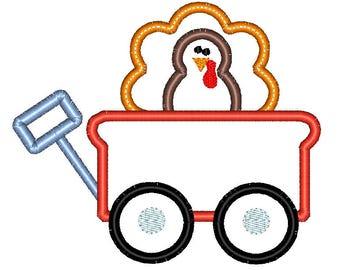 Wagon Turkey Thanksgiving Applique Embroidery Design 5x7 6x10 8x8 8x12