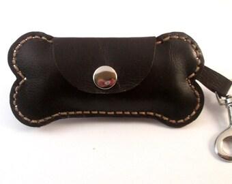 Bag dispenser for dog made leather