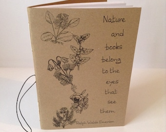 Nature and Books Quote Ralph Waldo Emerson Exercise Book A5 Handmade Handbound