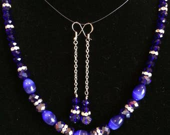 Stunning blue glass and crystal necklace and earring set