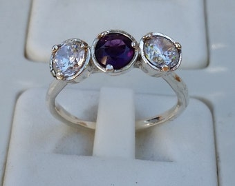 Amethyst Silver Ring ,Zircon Ring , Promise Silver Ring, Gemstones Ring, Multistone Ring, Engagement Ring, Friendship Ring, Mother's Day