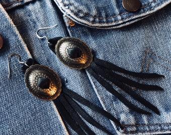 Concho Leather Fringe Earrings Southwest Desert Inspired Handmade From Texas