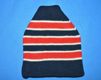 80s Smiley Striped Wool Knit Winter Ski Beanie Hat