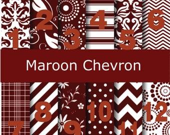 Printed Vinyl, Maroon Chevron, Pattern Vinyl, Heat Transfer Vinyl, Adhesive Vinyl, HTV Vinyl, Iron On, Design Vinyl, Chevron HTV, Monogram