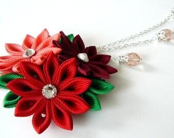 Kanzashi fabric flower hair clip. Shades of red. Red hair clip.