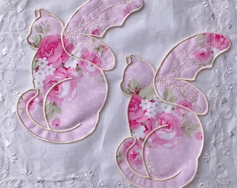 Butterfly Cat Iron On Appliques Pink Roses Cotton Shabby Chic Cats