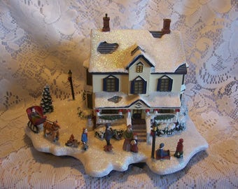 "Thomas Kinkade Lighted ""Home For The Holidays""House Winter Wonderland Collection"