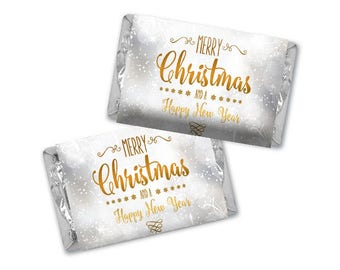 Personalized Merry Christmas Hershey's Chocolate Wrappers - Nugget Wrappers - Nugget Candy Stickers - Miniature Candy Wrappers