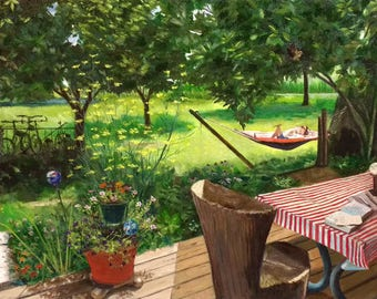 Sweet Spot - original oil painting - hammock - Garden Landscape - made in the usa