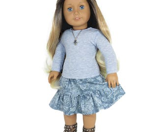 Fits Like American Girl Doll Clothes - Blue Heather Top and Paisley Skirt - Outfit for 18-inch Dolls.