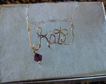 KATE or ANY Wire Name in your choice of metals teen gift tween gift personalized gift unique gift wire name jewelry
