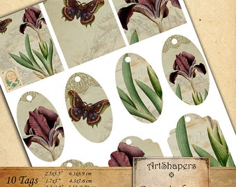 BOTANICAL TAGS- backgrounds, jewelry holders,instant download paper, vintage images,digital collage sheet DCS102