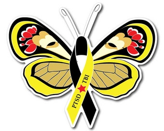 PTSD Awareness Butterfly Sticker/Decal or Magnet