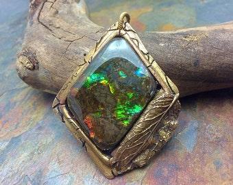 Rainbow Ammolite Artisan Bronze PMC Leaf Pendant