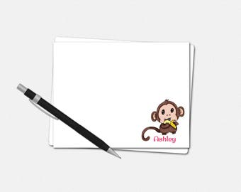 Baby Monkey Note Cards - Flat Note Cards - Custom Notecards | personalized stationery gifts kids girls animals