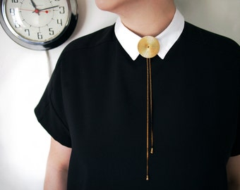 TROLLOP Large Brass Medallion Adjustable Bolo Necklace