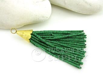 Short Green Marbled Heishi Beaded Tassel, Tassel Earring, Bohemian Jewelry, Boho Tassel Jewelry, Boho Chic Jewelry, Tassel Necklace