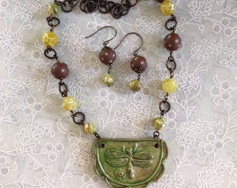 Statement Necklace, Assemblage Necklace, Dragonfly Necklace, Handmade