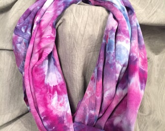 Ice Dyed Scarf, Gift Women, Colorful Rayon Scarf, Bright Tie Dye Scarf, Purple Scarf, Abstract Scarf, Hand-Dyed Scarf, Infinity Scarf, SC363