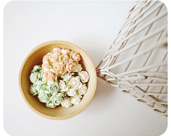 30 mint and peach Rose Buds paper flower mixed color for wedding decoration/ pack