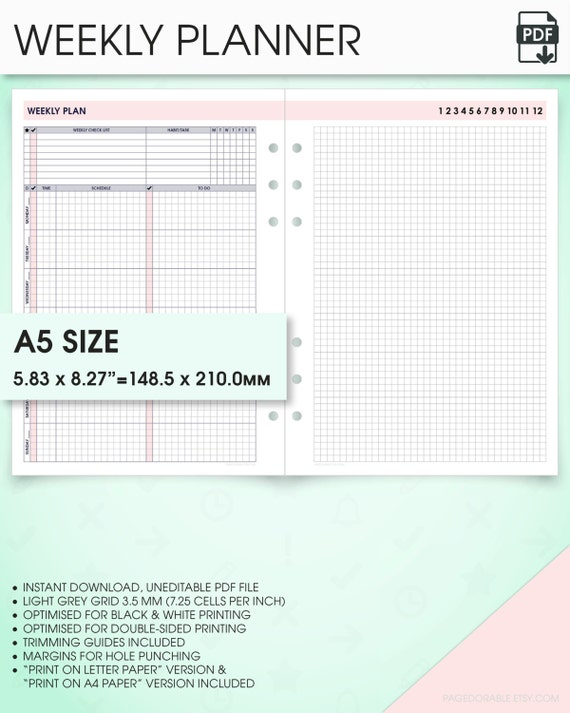 Decisive image pertaining to a5 planner printables