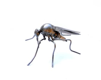 Metal sculpture mosquito. Mosquito statuette, Gnat figurine, Welded insect. Welded mosquito. Steampunk figurine mosquito. Spark plug art.