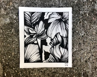 Hibiscus Black and White Flower Ink Drawing