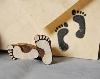 Pair of feet, Blockwallah wood stamp