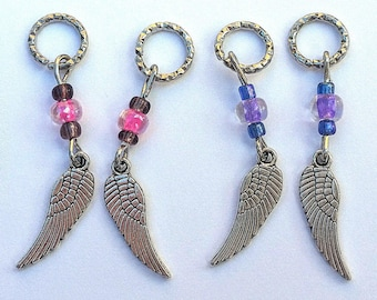 Hearing Aid Charms:  Angel Wings With Czech Glass Accent Beads  (also available in matching Mother Daughter Set)!