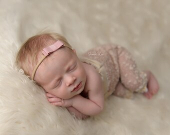 Mini Headband, Small Headband, Suede Headband, Tiny Headband, Newborn Photo, Baby Headband, Mini Baby Bow, Pink Headband, Little Headband