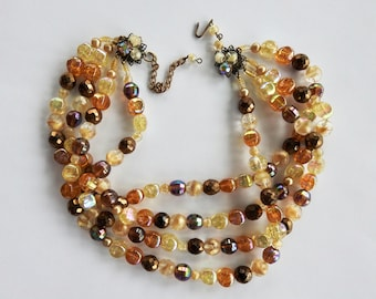 Mid Century 4 Strand Art Glass Necklace