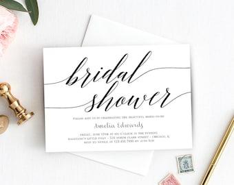 Printable Bridal Shower Invitation Template - Instant Download - MODERN SCRIPT - with Bonus Printable Envelope Liner #MSC