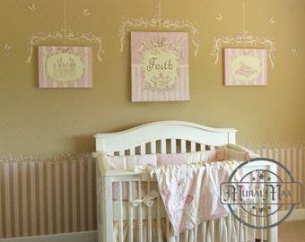 Personalized Princess Nursery Canvas Art,  Princess Wall Hanging,  Baby Girls Room Canvas Art Prints set of 3