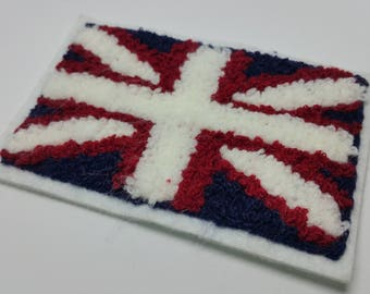 x 1 embroidered patch - British flag Union Jack - has Glue or sewing - sewing Customisation