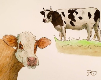 Original Cow Cows Cattle Farm Animals Watercolour Painting