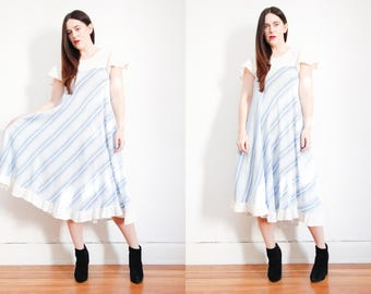 Vintage Indian Cotton Stripe Dress Boho Dress Hippie Dress Ethnic Frill Cotton Dress 70s
