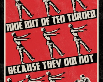 Retro Styled Zombie Propaganda Warning Poster