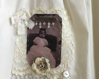 Antique baby dress altered assemblage long gown Tintype photo scan